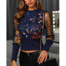 Load image into Gallery viewer, Mesh Sleeve Top with Embroidered Flowers