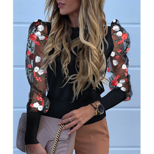 Mesh Sleeve Top with Embroidered Flowers