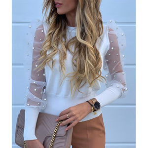 Mesh Sleeve Top with Pearls