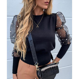 Black Mesh Sleeve Top with Pearls