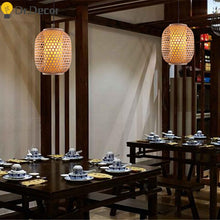 Load image into Gallery viewer, Vintage Bamboo & Rattan Lantern Style Pendant Light