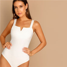 Load image into Gallery viewer, SHEIN Elegant White V-Cut Front Mid Waist Straps Skinny Plain Bodysuit for Casual Women Streetwear 2019 Spring Modern Lady