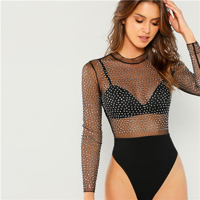 Frill Neck Semi Sheer Bodysuit