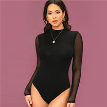 Load image into Gallery viewer, SHEIN Solid Stand Collar Contrast Mesh Sleeve Elegant Bodysuit Women 2020 Spring Long Sleeve Office Lady Sheer Skinny Bodysuits