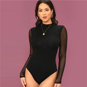 SHEIN Solid Stand Collar Contrast Mesh Sleeve Elegant Bodysuit Women 2020 Spring Long Sleeve Office Lady Sheer Skinny Bodysuits