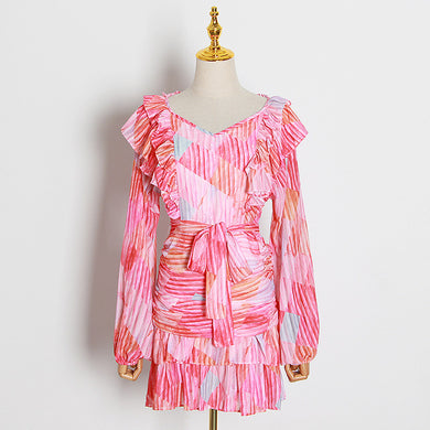 Ruched Frill Print Dress