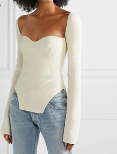 Cashmere Square Collar Top