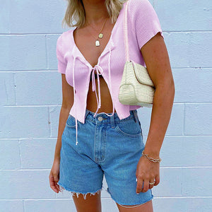 Short-Sleeved Cropped Cardigan
