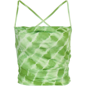 ALLNeon E-Girl Tie Dye Backless Bandage Party Tops Fashion Summer Hollow Out Sexy Camis Tops Chic Vintage Sweet Green Crop Tops