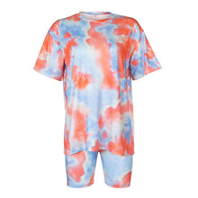 Load image into Gallery viewer, IAMHOTTY   Tie Dye Print Basic Tshirt Shorts Two Piece Set Women Casual Outfits lounge Wear Jogging Femme Biker Shorts Tees Summ