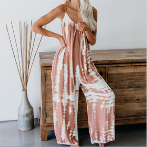 Boho Sleeveless Tie-Dye Jumpsuit