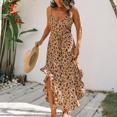 Leopard Print Maxi Dress with Ruffles