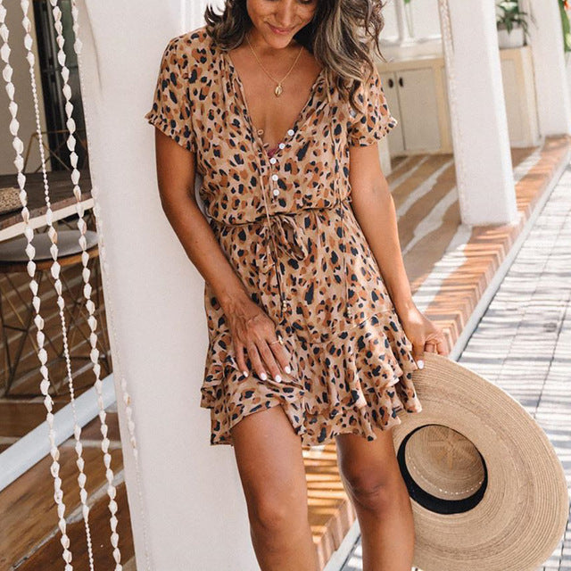 Leopard Print Mini Dress with Ruffles