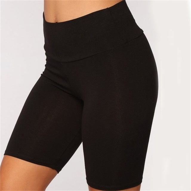 1pcs Summer women's bicycle shorts stretch solid color leisure sports fitness ladies elastic waist black slim shorts