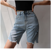 Load image into Gallery viewer, High Waist Hole Slim Cyclist Denim Bermuda Shorts Vintage 2020 Summer Woman Jeans