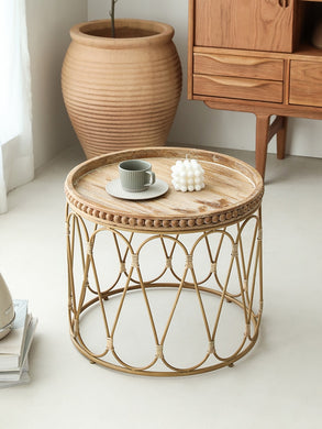Round Rattan Tea Table
