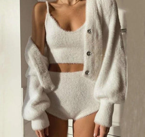 White Furry Knitted Tank Top/Cardigan/Whole Set