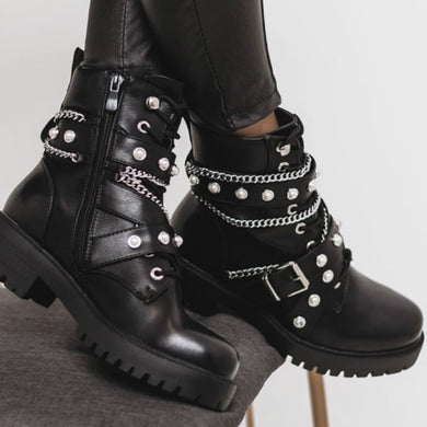 Flat Ankle Boots with Chain and Faux Pearl Details