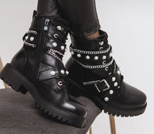 Load image into Gallery viewer, Flat Ankle Boots with Chain and Faux Pearl Details