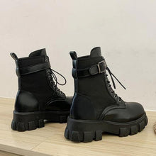 Load image into Gallery viewer, Black Lace Up Buckle Strap Biker Boots