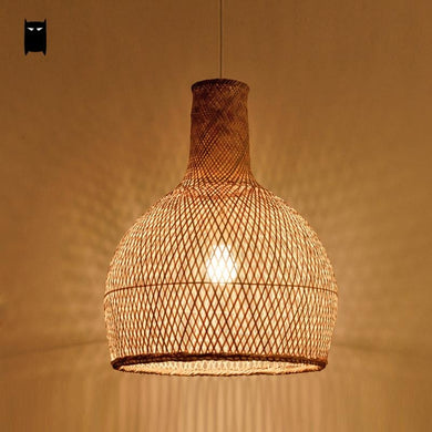 Round Bamboo & Rattan Cage Pendant Light