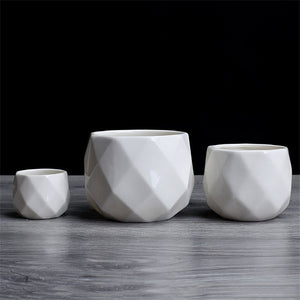 Ceramic Diamond Geometric Flowerpot