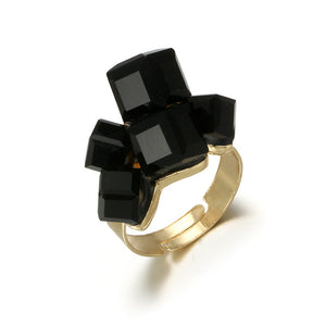 Vintage Gold Black Rhinestone Rings Set