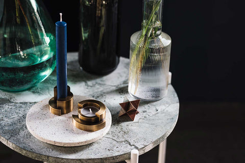 CIRCULAR candle holder <br> <i>aged brass finish</i>
