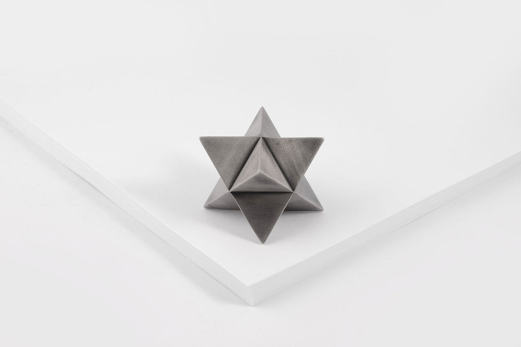 MERKABA paperweight <br> <i>aged silver finish</i>
