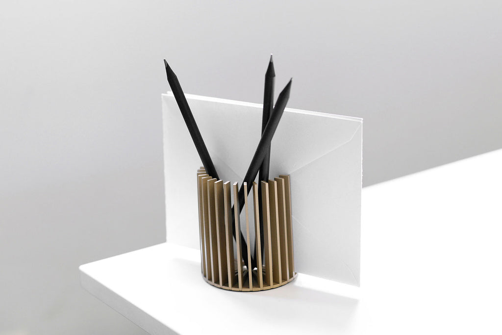 SUNRAY pencil holder <br><i> satin gold finish</i>