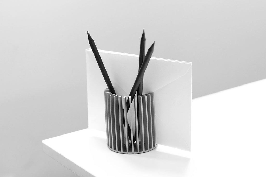 SUNRAY pencil holder <br>satin silver finish</i>