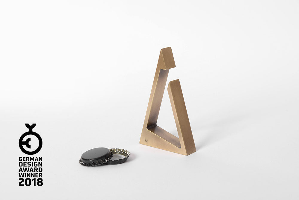 TRIANGLE bottle opener <br><i>aged brass finish</i>