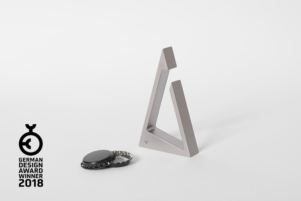 TRIANGLE bottle opener <br> <i>satin silver finish</i>