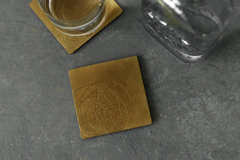 PHI coaster  <br> <i>satin brass finish</i>
