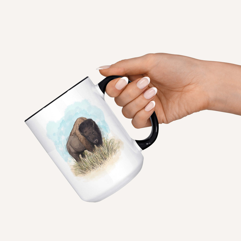 "Montessa the Artist ""American Bison"" - 15oz Coffee Mug"