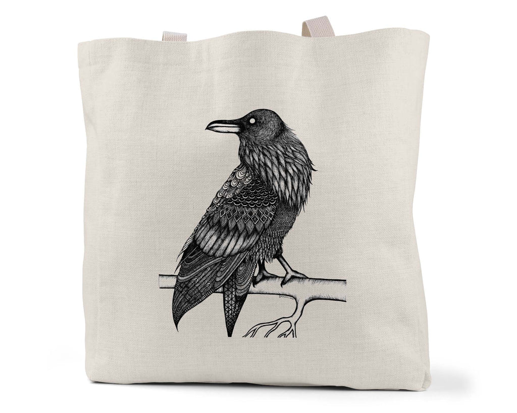 "Savvy Art ""Raven (Black and White Version)"" - Linen Shopping/Tote Bag (Multiple styles available!)"