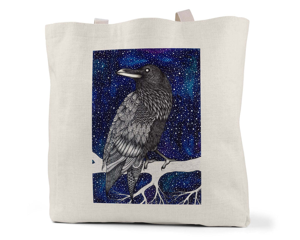 "Savvy Art ""Space Raven (Colored Version)"" - Linen Shopping/Tote Bag (Multiple styles available!)"