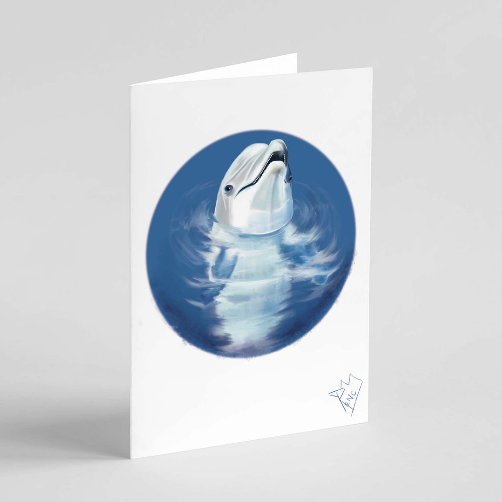 "RencArt ""Dolphin"" (Animal Studies Series) - Greeting Card"
