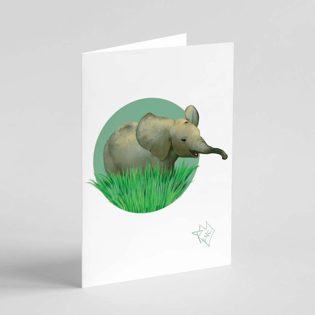 RencArt - Elephant - Animal Studies Series - Greeting Card