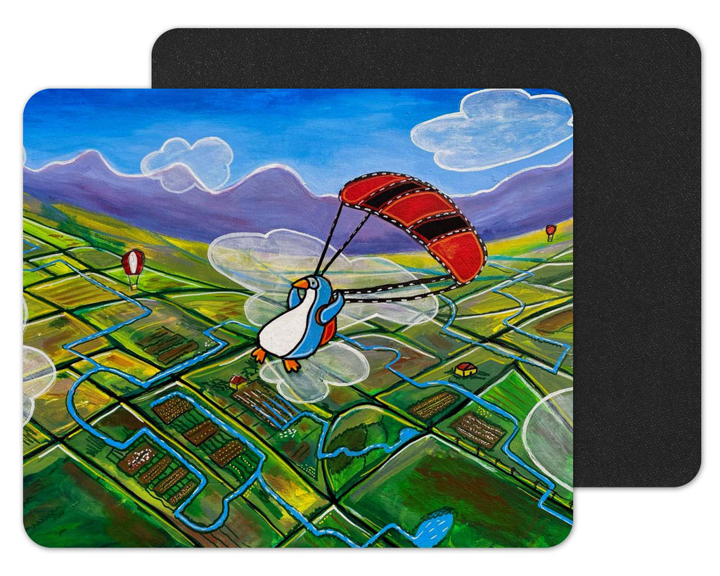 "Vanessa Saavedra Art ""Flying Penguin"" - 7.75"" x 9.25"" Black-Backed Mousepad"