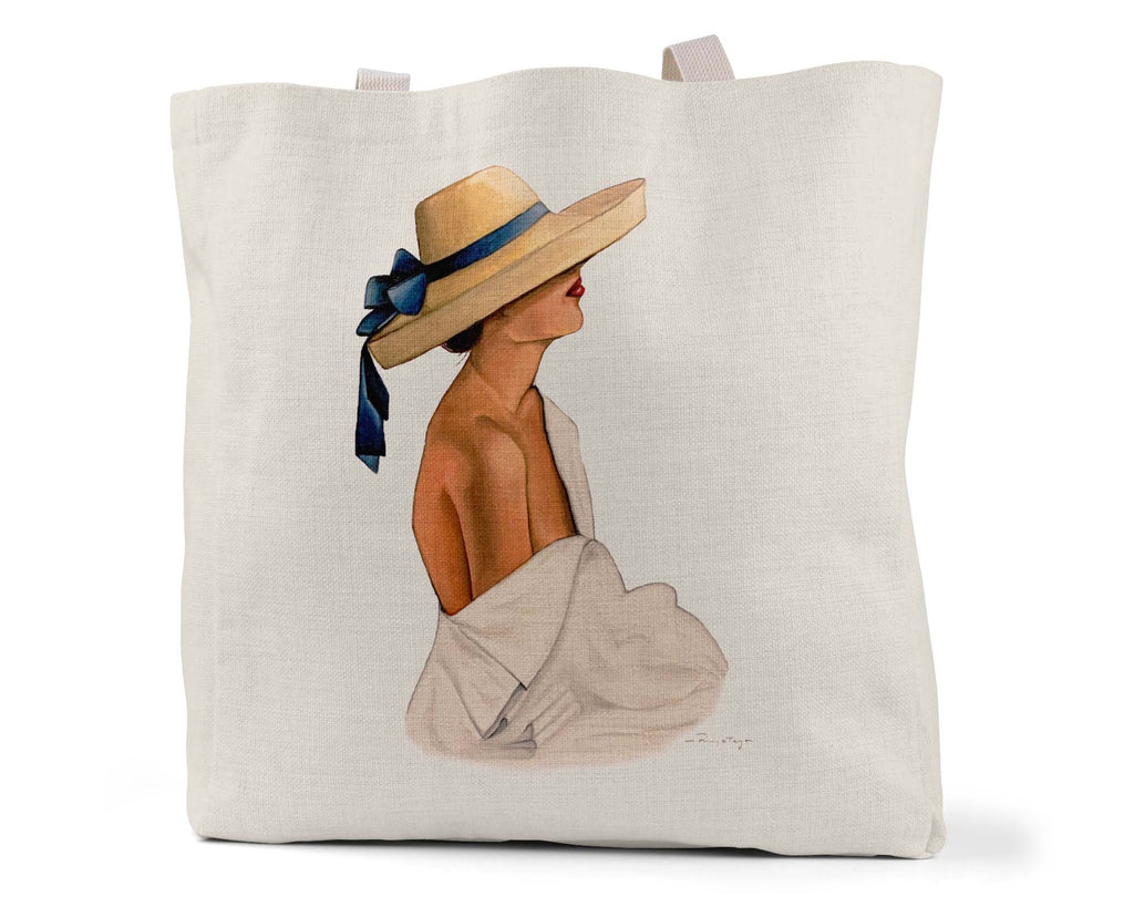 "Ramya Art Studio ""Hat Girl"" - Linen Tote Bag (Multiple styles available!)"