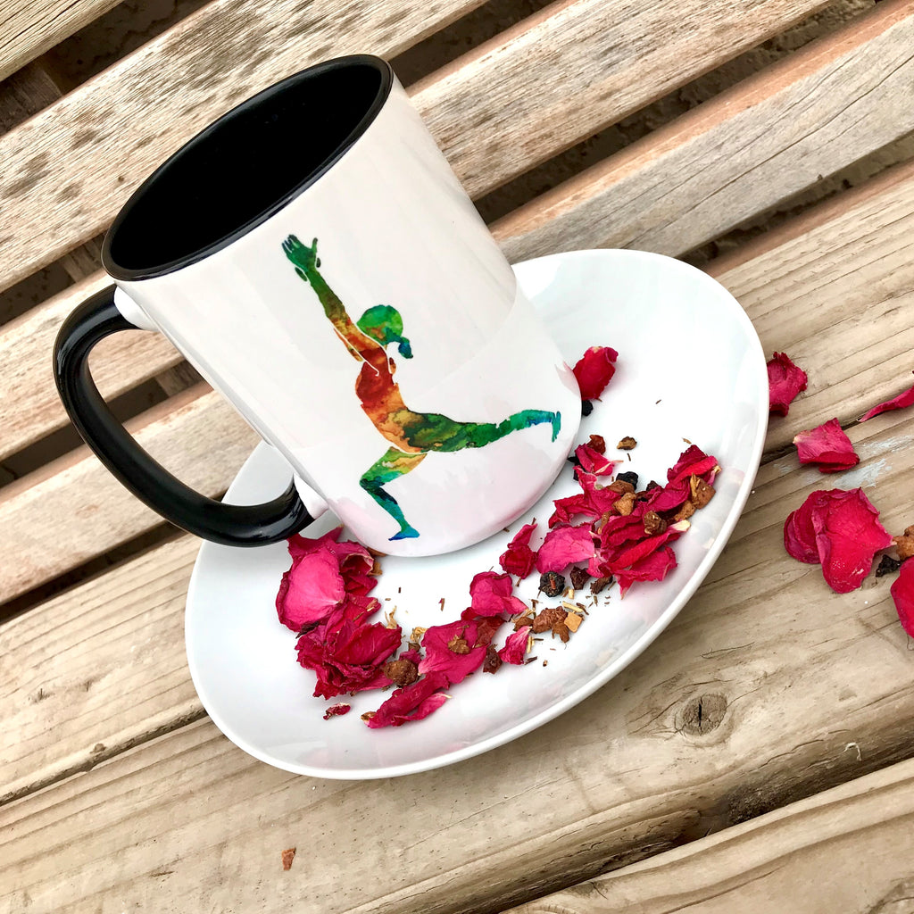 "Pomegranate Muse ""Virabhadrasana I"" - 15oz Coffee Mug"