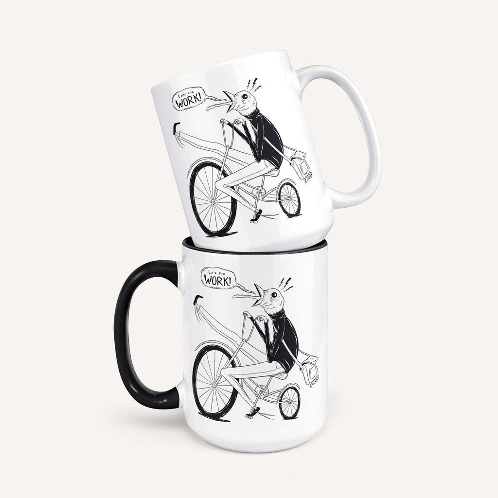 "Zoinkd Art ""Late for Work"" - 15oz Coffee Mug"