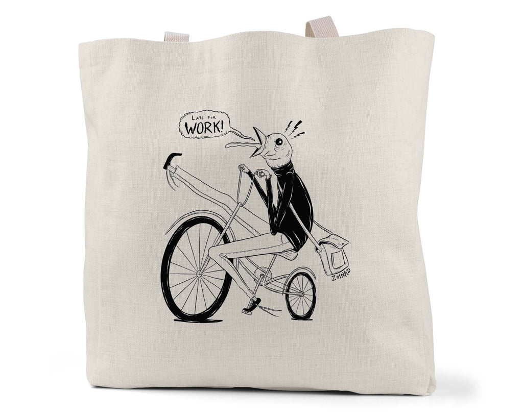"Zoinkd Art ""Late For Work"" - Linen Shopping/Tote Bag (Multiple styles available!)"