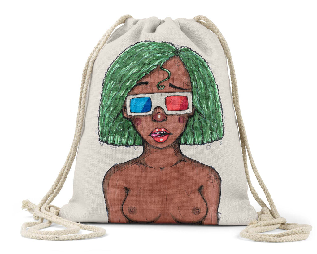 "Jordan W. Hill Art ""3D Glasses"" - Linen Drawstring Bag"