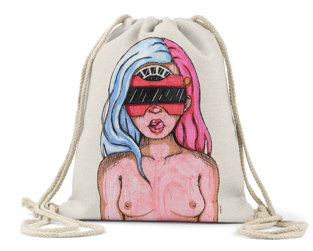"Jordan W. Hill Art ""Viewmaster"" - Linen Drawstring Bag"