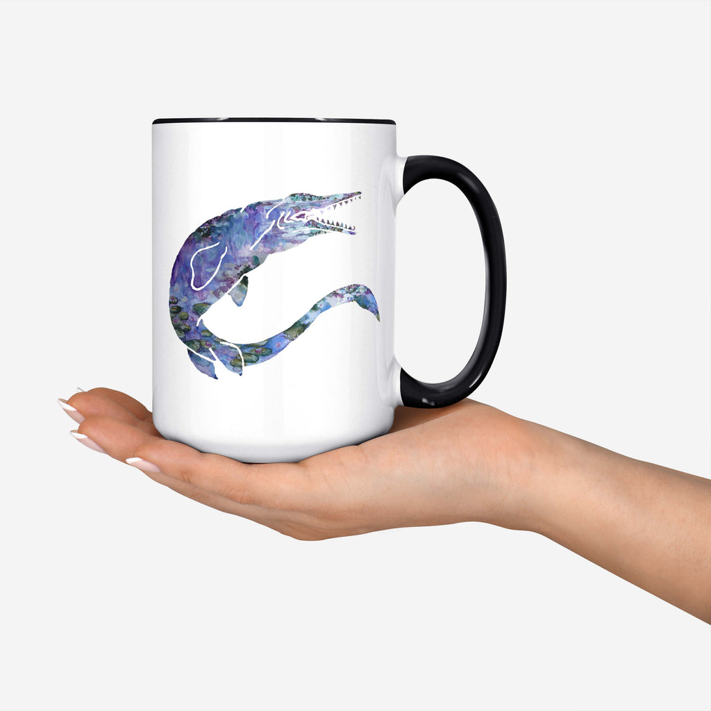 "Pomegranate Muse - ""MONETsasaur"" Monet Lillies/Mosasaur Mashup - 15oz Coffee Mug"