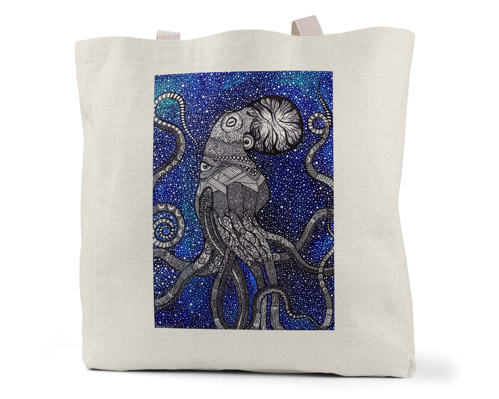 "Savvy Art ""Ocular Octopus (Colored Version)"" - Linen Shopping/Tote Bag (Multiple styles available!)"