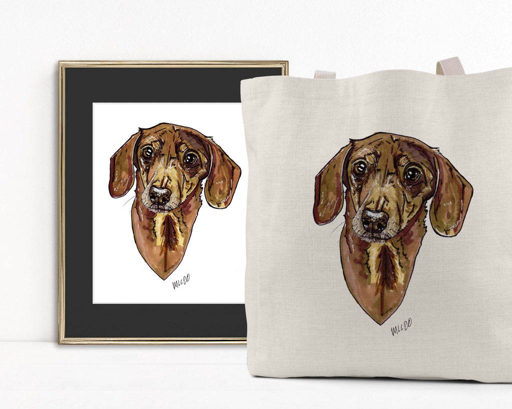 Animal Ink Co. - Custom Pet Portrait with Matching Tote Bag