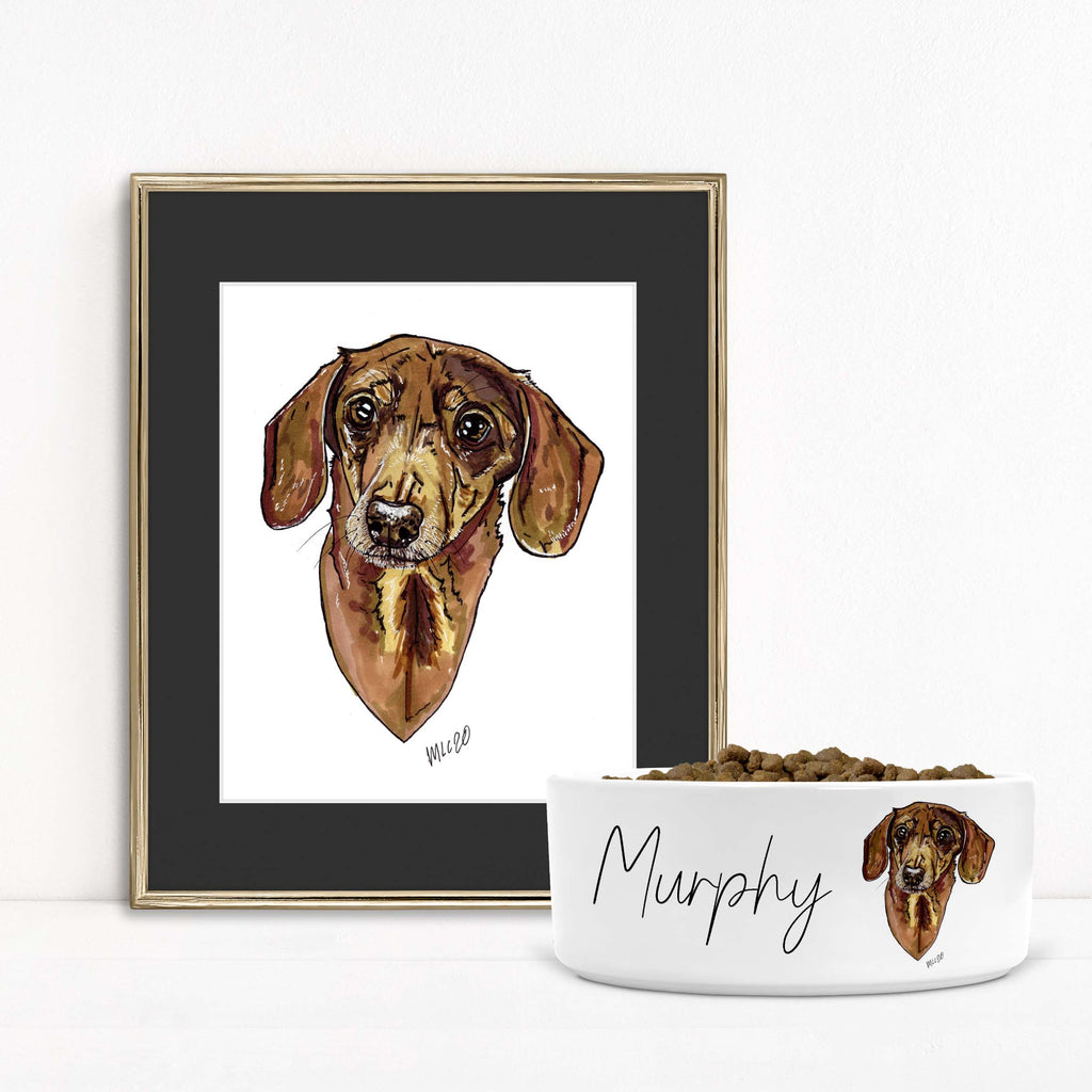 Animal Ink Co. - Custom Pet Portrait with Matching Pet Bowl